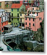 Manarola Houses On The Cinque Terre II Metal Print