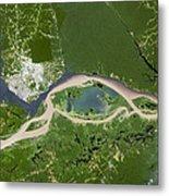 Manaus, Satellite Image Metal Print