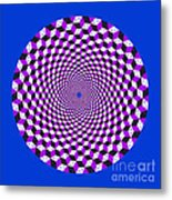 Mandala Figure Number 5 With Rhombus Steps In Black And White And Purple Metal Print