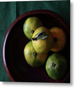 Mandarin Orange In Wooden Bowl Metal Print by © Miss Snail All right reserved
