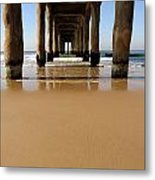 Manhattan Beach Pier Paddler Metal Print