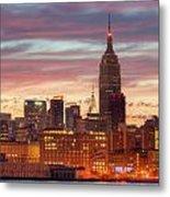 Manhattan Buildings And Pre-sunrise Sky Metal Print