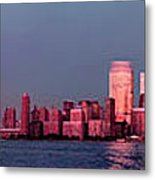 Manhattan In Pink Metal Print