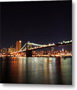 Manhattan Nightscape With Brooklyn Bridge Metal Print