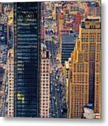 Manhattan Streets From Above Metal Print