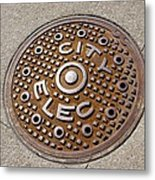 Manhole Cover In Chicago Metal Print