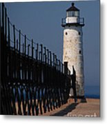 Manistee Harbor Lighthouse And Cat Walk Metal Print