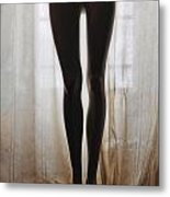 Mannequin Legs Standing By Window Metal Print