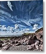 Manorbier Rocks Big Sky Metal Print
