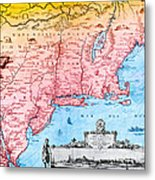 Map Of New Netherland, 1650s Metal Print