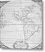 Map Of The New World 1587 Metal Print