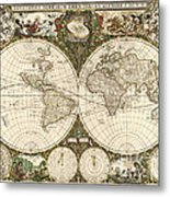 Map Of The World, 1660 Metal Print