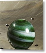 Marble Green Onion Skin 5 Metal Print