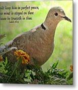 Marigold Dove With Verse Metal Print