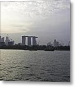 Marina Bay Sands And Flyer Along With Singapore Skyline From The Metal Print