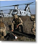 Marines And Sailors Being Transported Metal Print