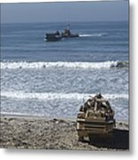 Marines Await The Arrival Of An Metal Print