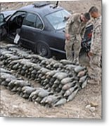 Marines Discover A Weapons Cache Metal Print by Stocktrek Images