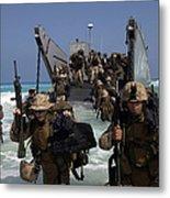 Marines Disembark A Landing Craft Metal Print