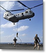 Marines Fast Rope From A Ch-46e Sea Metal Print