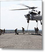 Marines Fast-rope Onto Their Objective Metal Print