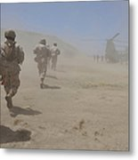 Marines Move Through A Dust Cloud Metal Print