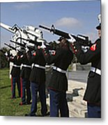 Marines Practices Drill Movements Metal Print