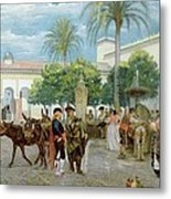 Market Day In Spain Metal Print