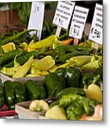 Market Peppers Metal Print