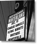 Marquee At Winterland In Late 1975 Metal Print