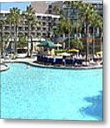 Marriott Hotel Swimming Pool Panorama Orlando Fl Metal Print