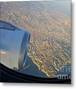 Marseille City From An Airplane Porthole Metal Print