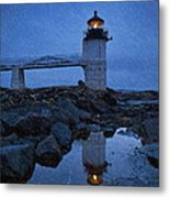 Marshall Point Lighthouse In Winter Storm. Metal Print