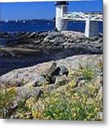 Marshall Point Lighthouse Summer Flowers Metal Print