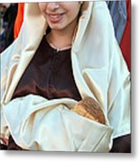 Mary And Baby Jesus At The Christmas March In Bethlehem Metal Print