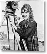 Mary Pickford (1893-1979). Born Gladys Mary Smith. American Actress, With A Movie Camera On A Beach, C1916 Metal Print