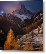 Matterhorn With Star Trail Metal Print