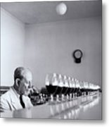 Mature Wine Tester With Row Of Glasses (b&w) Metal Print