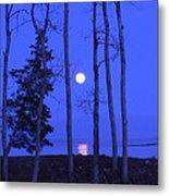 May Moon Through Birches Metal Print