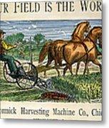 Mccormick Reaper, C1875 Metal Print