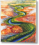 Meandering River In Northern Australian Channel Country Metal Print