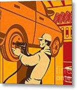 Mechanic Automotive Repairman Retro Metal Print