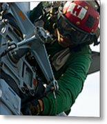 Mechanic Inspects An Mh-60r Sea Hawk Metal Print by Stocktrek Images