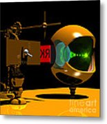 Mechanical Oculist Red Metal Print