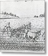 Mechanised Plough, 16th Century Artwork Metal Print by Middle Temple Library