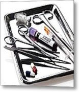 Medical Equipment On A Tray Metal Print
