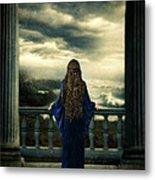 Medieval Lady Watching The Sea Metal Print