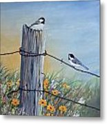 Meeting At The Old Fence Post Metal Print