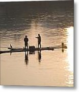 Men On A Raft Fishing Metal Print