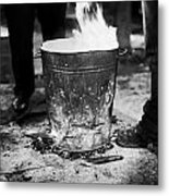 Men Standing Around Brazier Burning Wood And Coal On A Cold Night In Central Belfast Metal Print by Joe Fox